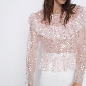 Zara  | NWT Rose Sequin Ruffle Blouse Med